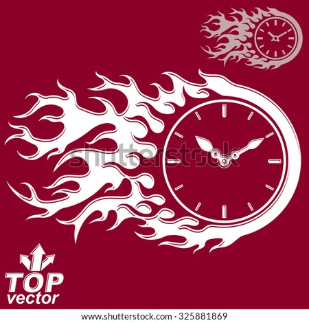 Vector timer with burning flame. Time is running out concept, eps 8 clear vector illustration. Deadline theme stylized illustration.