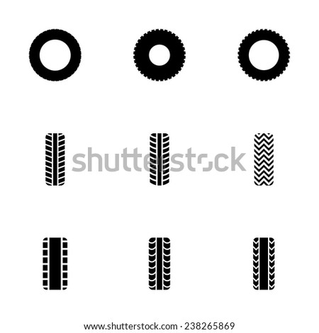 Vector tire icon set on white background - stock vector