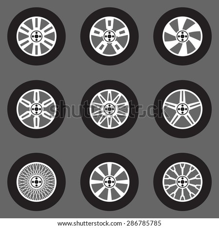 Vector tires icons set. Car wheels collection flat design. Automobile parts collection. Gray scale design of car tyre. Auto sport disk silhouette. - stock vector