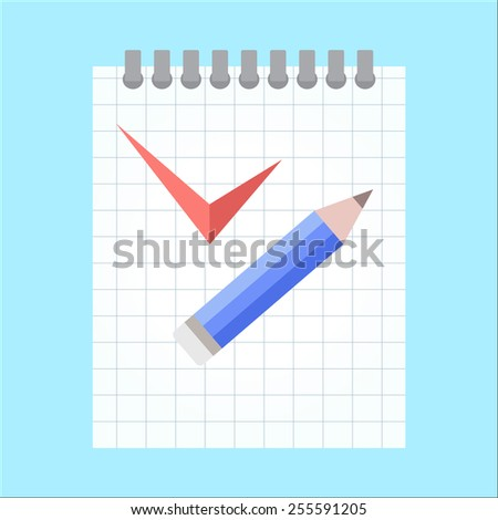 vector To-Do List with pencil and check mark on a blue background - stock vector
