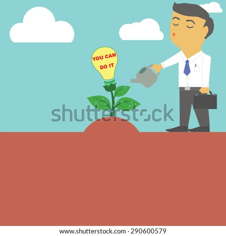 Vector to express their creativity by a businessman watering a tree is a symbol of success. - stock vector