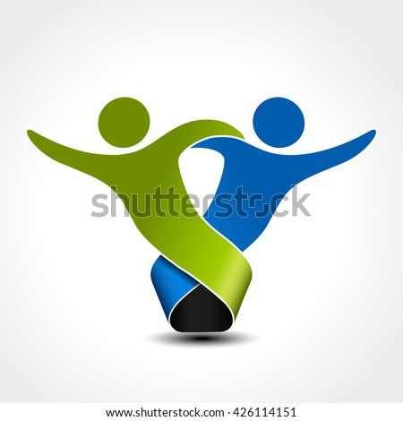 Vector together joined people icon. Green and blue community symbol. Human sign of two partners. Silhouttes of body with transparency shadow. Symbol of succes.