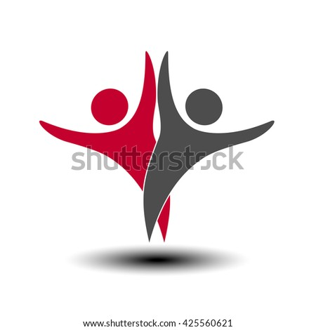 Vector together joined people icon. Red and grey community symbol. Human sign of two partners. Silhouttes of body with transparency shadow. Symbol of succes.