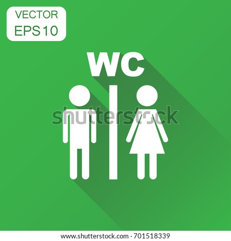 Vector toilet, restroom icon. Business concept man and woman pictogram. Vector illustration on green background with long shadow.