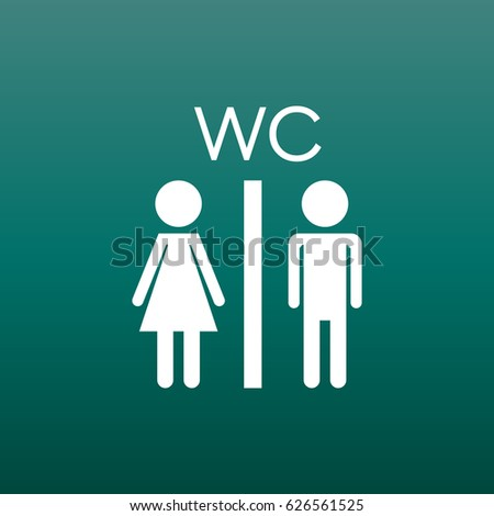 Vector toilet, restroom icon on green background. Modern man and woman flat pictogram. Simple flat symbol for web site design.