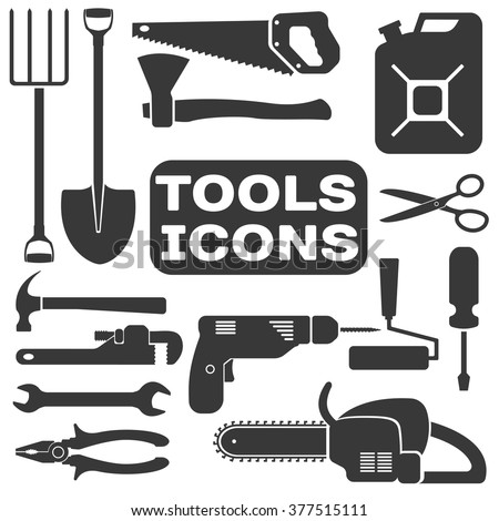 vector tools shadow icons with white background. Tools silhouette isolated.