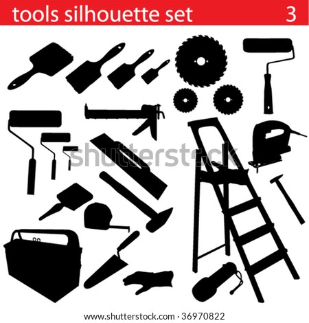 vector tools silhouette set - stock vector