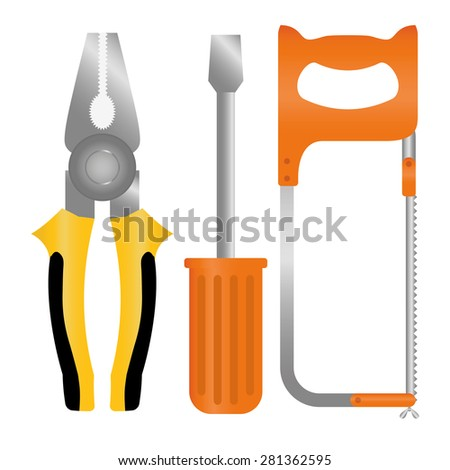 Vector tools, white background - stock vector