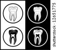 Vector tooth icons. Black and white. Simply change. - stock photo