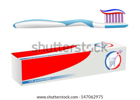vector toothbrush and toothpaste on white background, gradient mesh used, raster version available - stock vector