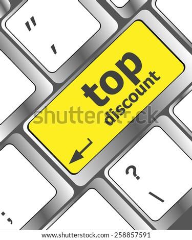 vector top discount concept sign on computer key - stock vector