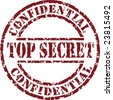 Vector top secret stamp with red ink - stock vector