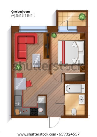 Modern Furniture Top View vector top view illustration one bedroom stock vector 659324557