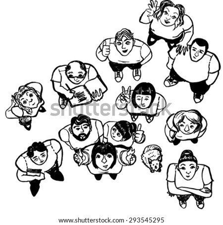 Vector top view of a group of people, happy people looking up, hand drawn sketch of people - stock vector