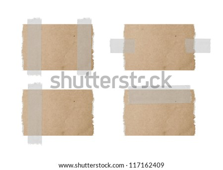 Vector torn cardboard labels attached with a sticky tape