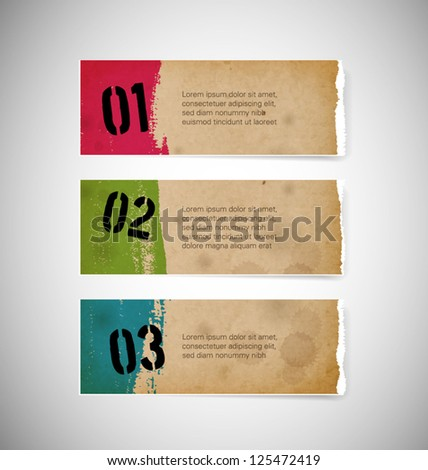 Vector torn old paper banners - stock vector