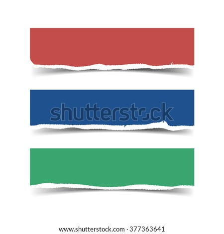 Vector torn paper banners with shadow and space for text. Pieces of colored paper for your design - stock vector