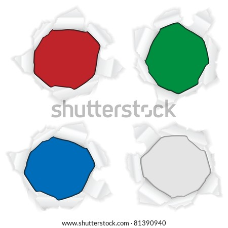Vector torn paper circles revealing a background - stock vector