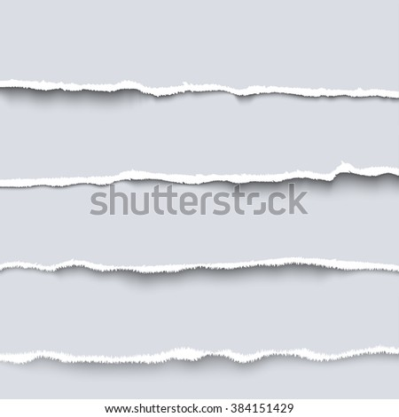 Vector torn paper. Collection of  four white pieces of torn paper with ripped edges, torn cardboard - stock vector