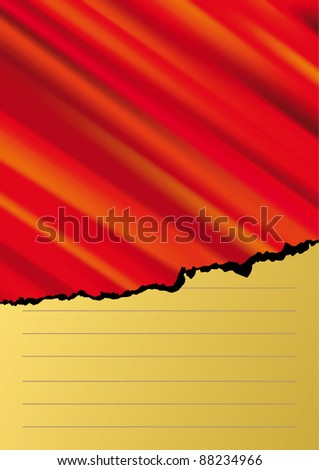 Vector torn Paper with red background