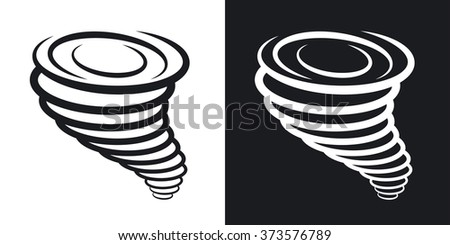 Vector tornado icon. Two-tone version on black and white background