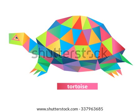 Vector - tortoise geometric (illustration of a many triangles) - stock vector