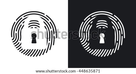 Vector Touch id Fingerprint icon. Two-tone version of Touch id Fingerprint simple icon on black and white background