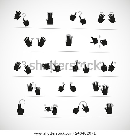 Vector touch screen gestures icons - stock vector