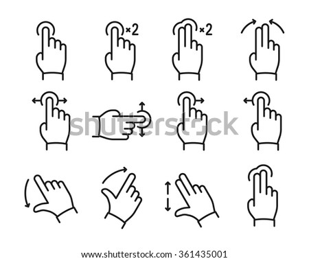 Vector touch screen gestures icons set // Black & White - stock vector