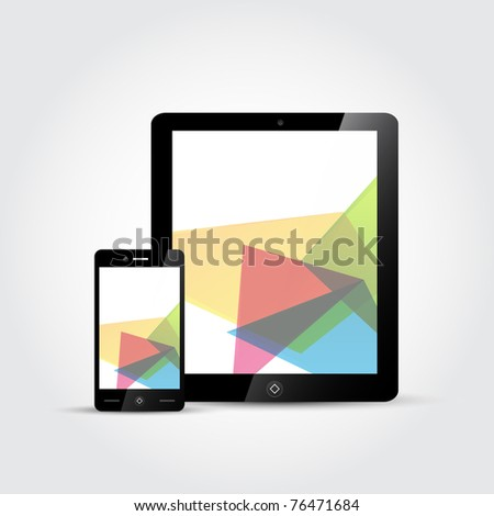 Vector Touchscreen devices, a mobile phone and a tablet. - stock vector