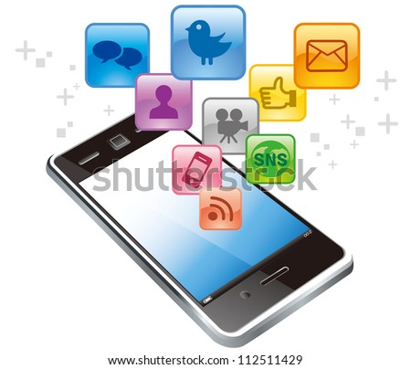 Vector touchscreen smartphone with social media icons isolated on white background - stock vector