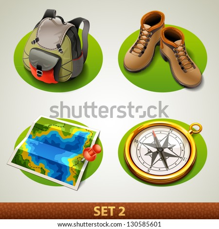 vector tourism icon-set 2 - stock vector