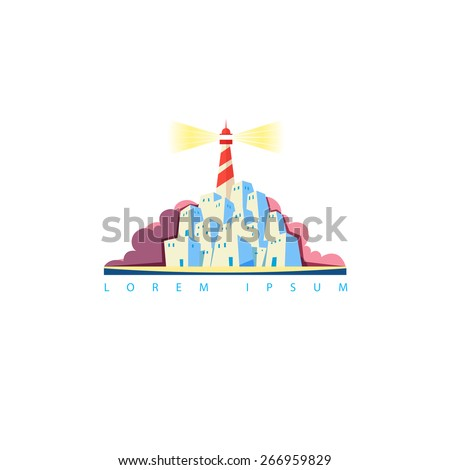Vector touristic emblem with lighthouse on the island - stock vector