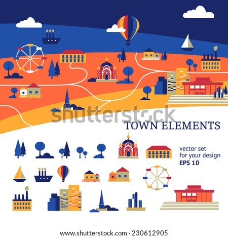 Vector town illustration for your infographics with set of isolated buildings, transportation, showplaces and trees  - stock vector