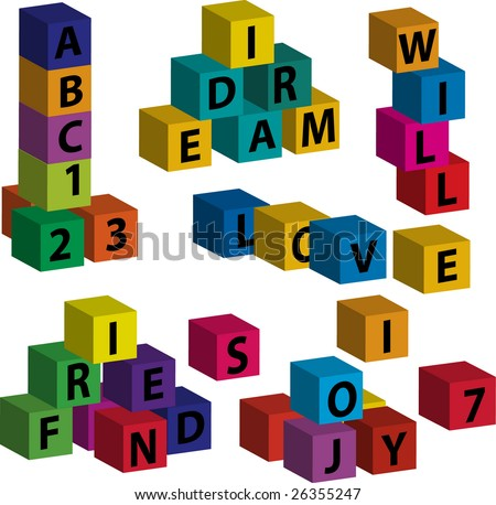 "Vector toy blocks with letters forming the words ""love"", ""will"", ""dream"", ""friend"", ""joy"""