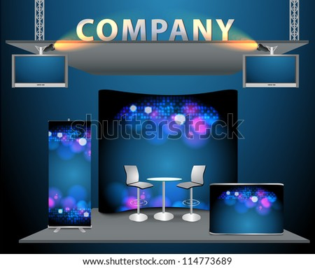 Vector trade exhibition stand with widescreen lcd monitor, counter, chair, roll-up banner and lights with identity background ready for use. - stock vector