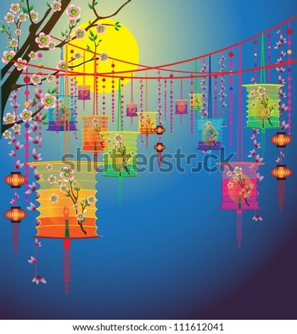 vector traditional background for traditions of Chinese Mid Autumn Festival or Lantern Festival. Vector calendar.