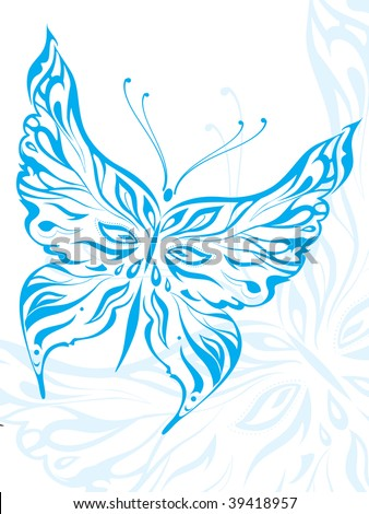 Vector Traditional Chinese Artistic Pattern butterfly tattoo - stock vector