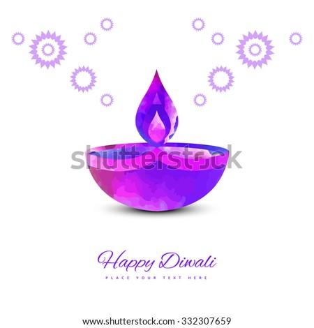 vector traditional Hindu festival Diwali lamp colorful design - stock vector