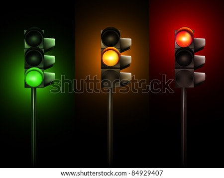 Vector Traffic Lamps - stock vector