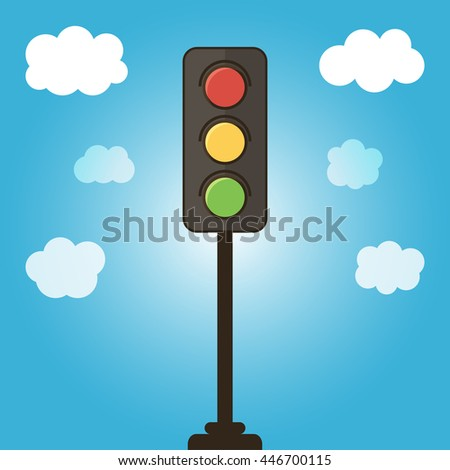 Vector traffic light on blue sky background with clouds.