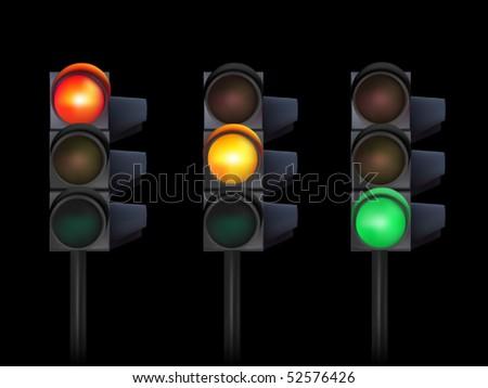 vector traffic lights - stock vector