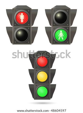 vector traffic lights set - stock vector