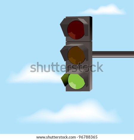 vector traffic lights with green color and blue sky with clouds