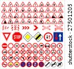 Vector traffic signs collection - stock vector