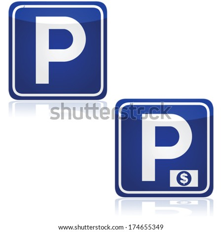 Vector traffic signs for both parking and paid parking zones - stock vector