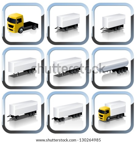 Vector Trailers Icon Set - stock vector