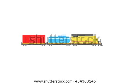 Vector train and two wagons carrying the tank and cargo - stock vector