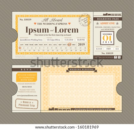 Vector Train Ticket Wedding Invitation Design Template - stock vector