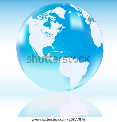Vector translucent blue globe with shadow - stock vector
